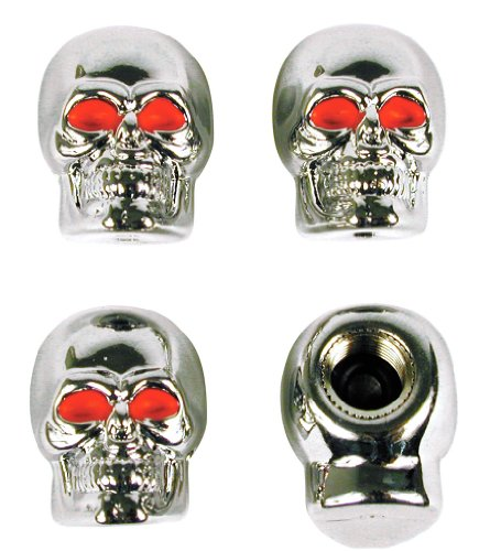 Custom Accessories 16220 Chrome Skull Style Valve Cap -, Pack of ()