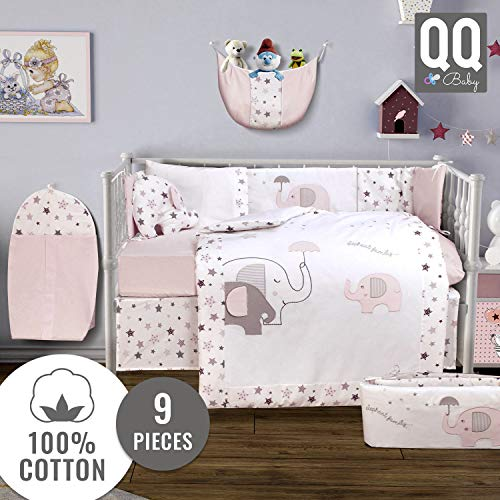 Baby Crib Bedding Set – 100% Turkish Cotton – 9 Piece Nursery Crib Bedding Sets for Girls – Elephant Design – 4 Color Variations by QQ Baby (Pink)