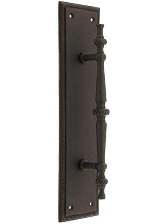 Large Traditional Door Pull With Rope Back Plate In Oil Rubbed Bronze