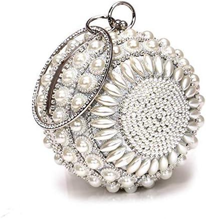 ディナーバッグヨーロッパおよびアメリカの宴会クラッチ、イブニングメタルバッグ、2色、15.0 Cm * 15.0 Cm * 15.0 Cm 美しいファッション (Color : White)