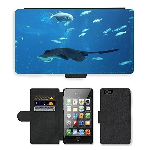 Just Phone Cases PU Leather Flip Custodia Protettiva Case Cover per // M00128467 Poissons papillons animaux marins // Apple iPhone 4 4S 4G