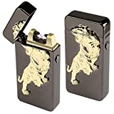 Kivors Windproof Flameless Electronic Double Pulse Arc Cigarette Lighter USB Rechargeable No Gas Metal Relief Tiger Lighter