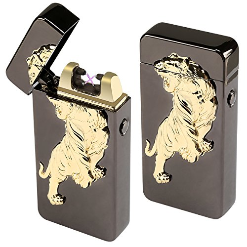 Kivors Windproof Flameless Electronic Double Pulse Plasma Arc Lighter USB Rechargeable No Gas Metal Relief Tiger Lighter