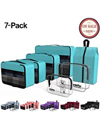 Packing Cubes 7-Pcs Travel Organizer Accessories with Shoe Bag & 2 Toiletry Bags(Blue)