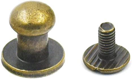 Stud Screw Round Head Solid Brass Nail Rivet Chicago Button DIY Leather  5-50pcs