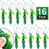 16 Pieces Fidget Bean Toy Funny Facial Expression Bean Stress Relieving Chain Toys Soybean Key Ring Extrusion Bean Pea Gift