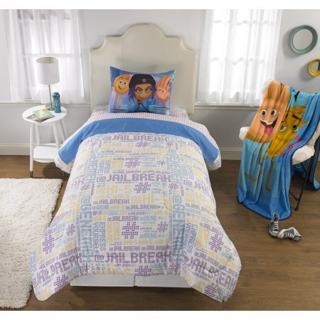 Adorable and Super Comfortable Emoji Movie 'The Cloud' Kid's Bedding Reversible Twin/Full Comforter with Sham,Makes a great gift for Emoji Fan