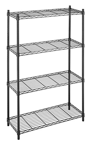 Whitmor Supreme 4 Tier Shelving with Adjustable Shelves and Leveling Feet - Black (Four Tier Shelving)