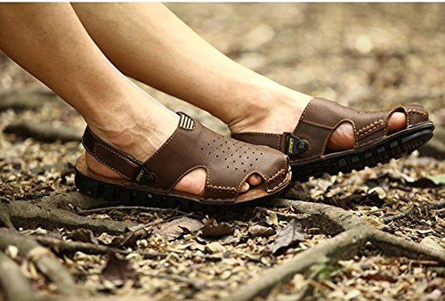 Men Shoes – Fashion Summer Casual Beach Fisherman Sandals with Velcro Heel Strap – Hollow Out, Breathable, Leather – Enjoy Your Outdoor Day US Size 8.5