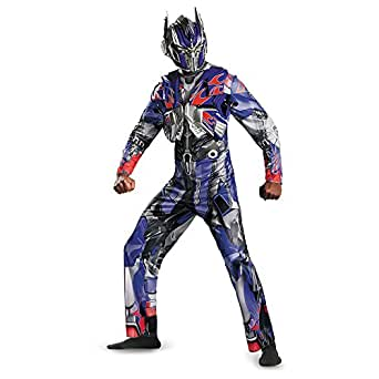 Disguise Men's Hasbro Transformers Age Of Extinction Movie Optimus Prime Deluxe Costume, Blue/Red, X-Large/42-46