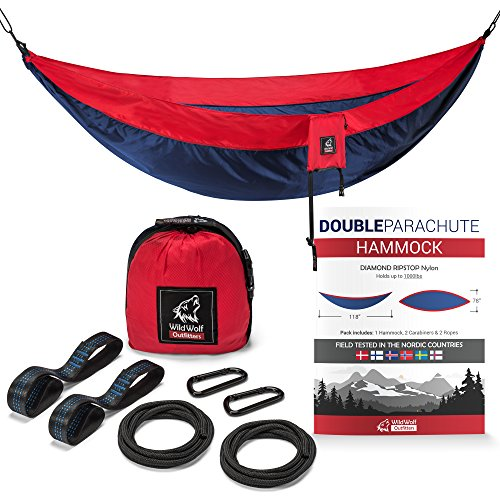- Wild Wolf Outfitters XL Double Camping Hammock - Best Choice for Hiking, Backpacking and Outdoor Adventures - Compact, Portable Design. Our Ultralight Parachute Hammocks are Made for Nature Lovers.