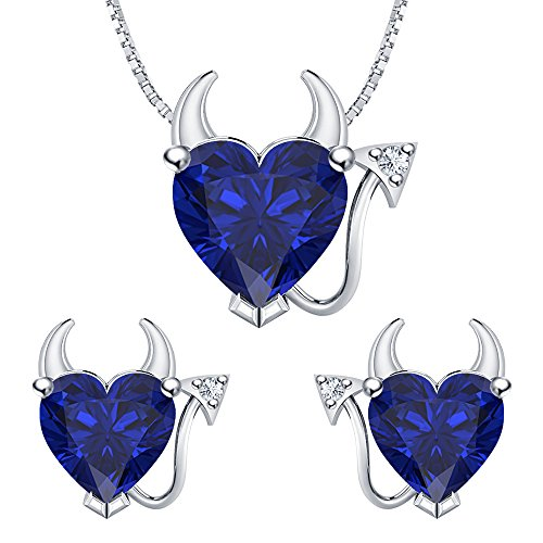 Heart Shape Blue Sapphire & White CZ Diamond 14k White Gold Plated 925 Sterling Silver Devil Jewelry Set Earrings Pendant Necklace