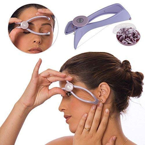 Wazdorf Eyebrow Face and Body Hair Threading and Removal System, tweezers for eyebrows, threading tool, threading machine for women, threading epilators for women (Purple) product image
