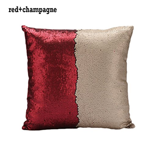 Price comparison product image Sonicee Double Sequin Mermaid Bright Color Throw Pillow with White Cross Stitch Pillow Core (Red + Champagne)
