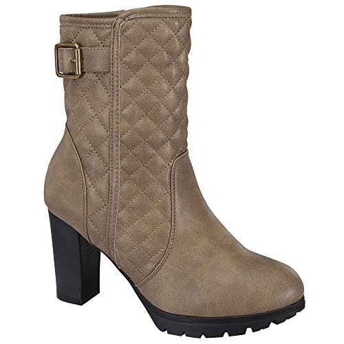 Riding Boot Quilted Ankle Heels Round DEV Bootie Strap Chunky Zipper Buckle Toe Women's Shoes Side Taupe High 65wzpq