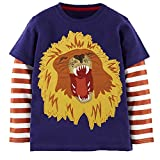 Captain Meow Baby Boy's Long Sleeve Cotton Lion Blue Tee 3T