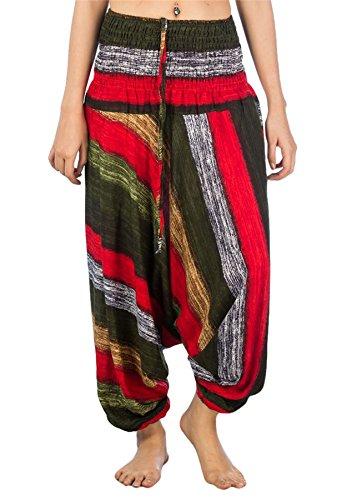 Lofbaz Jumpsuit Pantalones Harem de cintura Ojo de la flor fruncido para Mujeres Stripes 1 Verde