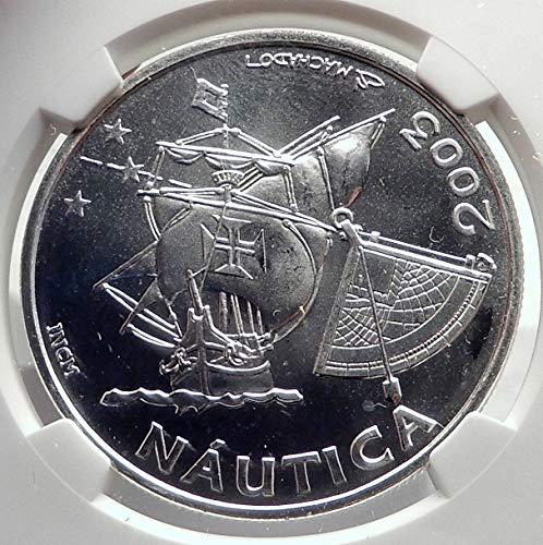 Coins Euro 10 (2003 PT 2003 PORTUGAL AR 10 Euro Coin PORTUGUESE SHIP NAU coin MS 66 NGC)