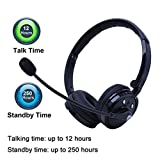 kiwitatá Wireless Bluetooth Headset Stereo Boom Headphone Noise Cancelling Handsfree Call with Mic for Cell phone PS3