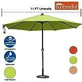 Sundale Outdoor 11 Ft Sunbrella Canopy Patio Market Umbrella Garden Outdoor Aluminum Umbrella with Crank and Push Button Tilt, Macaw For Sale