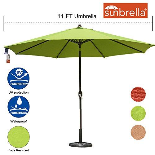 Sundale Outdoor 11 Ft Sunbrella Canopy Patio Market Umbrella Garden Outdoor Aluminum Umbrella with Crank and Push Button Tilt, (Large Umbrella Sunbrella)