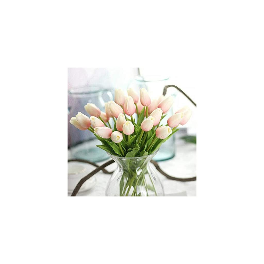 CATTREE Artificial Tulip, 20pcs Artificial Flowers Fake Plants Real Touch Tulips for Wedding Bride Bridesmaid Bouquets Garden Home Office Decor Party Centerpieces Arrangement Decoration
