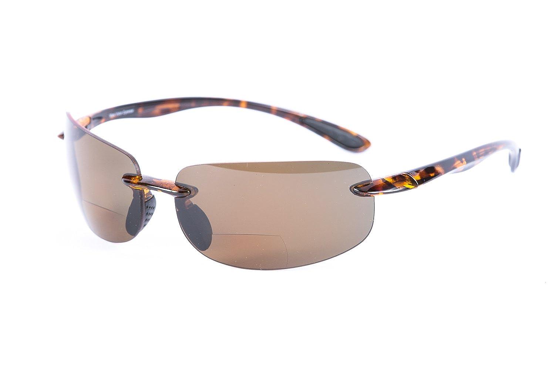 """Lovin Maui"" Wrap Around Non-Polarized Version Nearly Invisible Line Bifocal Sunglasses (Tortoise, 1.0)"