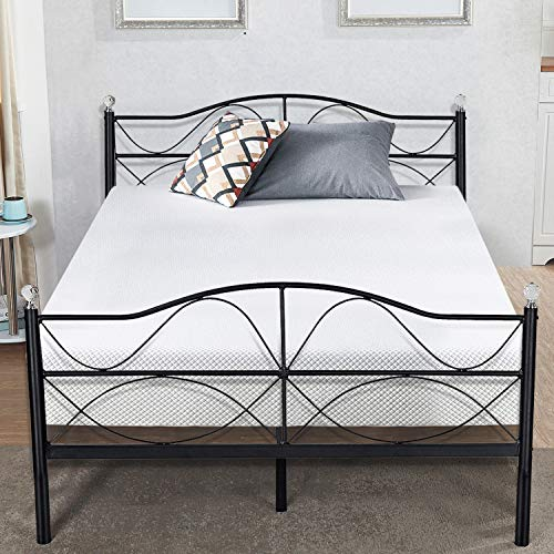 VECELO Premium Queen Size Bed Frame Metal Platform Mattress Foundation/Box Spring Replacement with Headboard, Deluxe Crystal Ball Stylish, ()