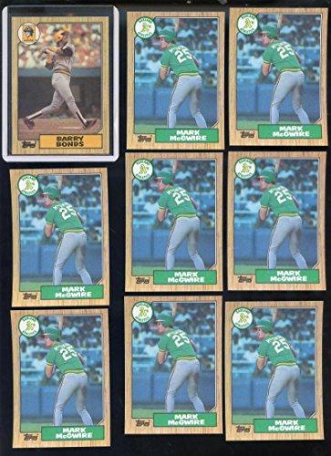 1987 Topps #320 Barry Bonds ROOKIE Baseball Card RC PLUS 8 #366 Mark McGwire LOT