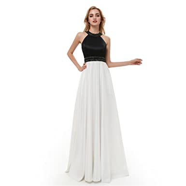 Prom Dress Halter Satin Chiffon Beaded Black White Dresses A-Line Evening Formal Gown Long