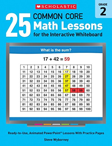 25 Common Core Math Lessons for the Interactive Whiteboard: Grade 2: Ready-to-Use, Animated PowerPoint Lessons With Practice Pages That Help Students Learn and Review Key Common Core Math Concepts