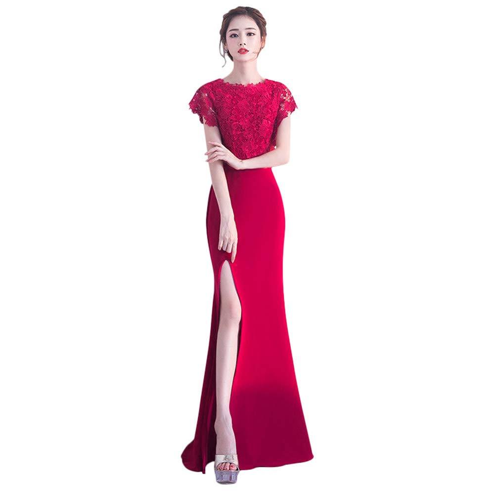 6  Drasawee Women's Graceful Lace Bridesmaid Dresses High Split Homecoming Dresses