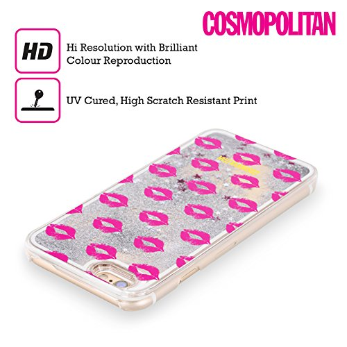 Official Cosmopolitan Pink Kiss Mark Silver Liquid Glitter Case Cover for Apple iPhone 5 / 5s / SE