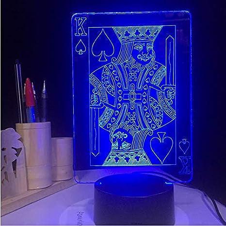 7 colores Poker King 3D llevó luces de ilusión de la lámpara ...
