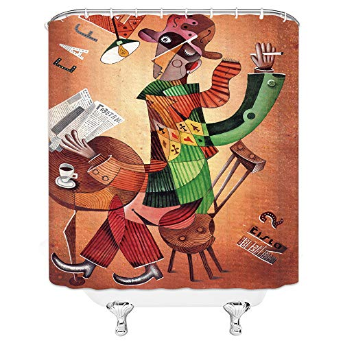 Xnichohe Creative Shower Curtain Stitching Puppet Gentleman Leisure Time and Coffee Reading Newspaper, Personalized Bathroom Decoration Set 70x70 Inch Waterproof Polyester Fabric with Hook