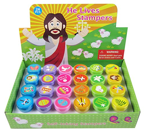 24 Pcs He Lives Jesus Stampers for Kids