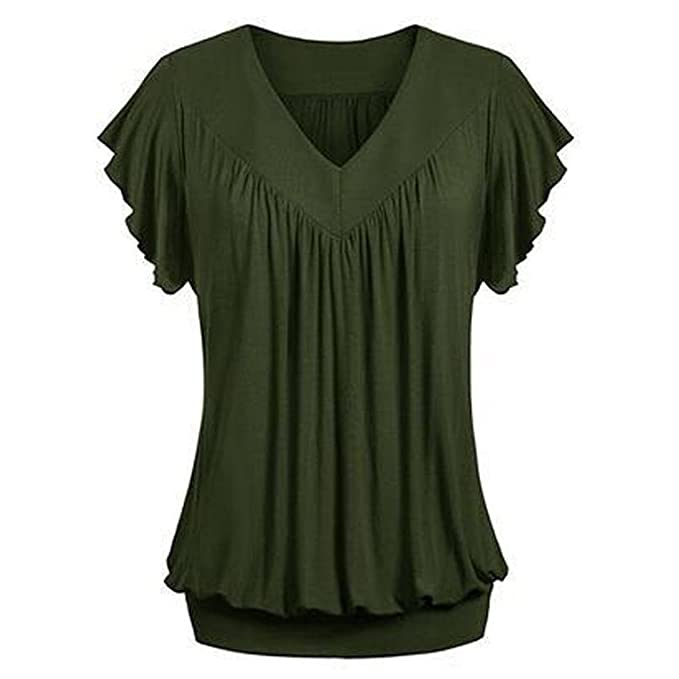 447e8bf560b Amazon.com  Hot Women Tshirt Plus Size Blouse Loose V Neck Short Sleeve  Solid Color Top Pleated  Clothing