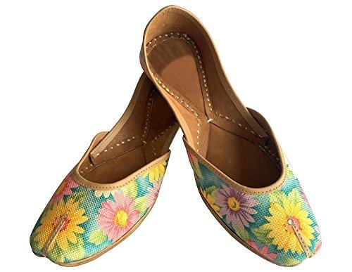 Steg N Stil Nya Kvinnor Skor Handgjorda Läder Indian Khussa Balett Saree Platt Bröllop
