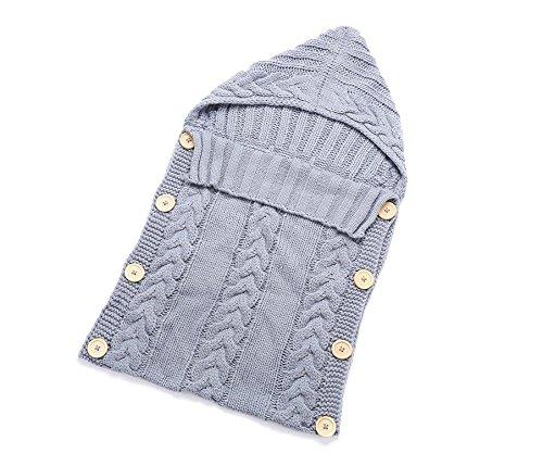 jiaqinsheng recién nacido Wrap Manta para bebé manta de punto lana Saco de dormir Saco Silla de paseo Wrap (gris): Amazon.es: Bebé