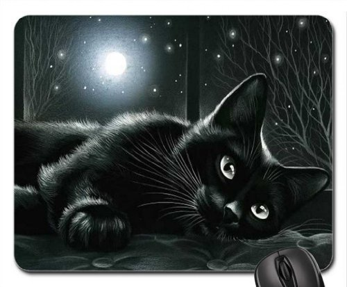 Black cat in moonlight Mouse Pad, Mousepad (Cats Mouse Pad) by Rock Bull