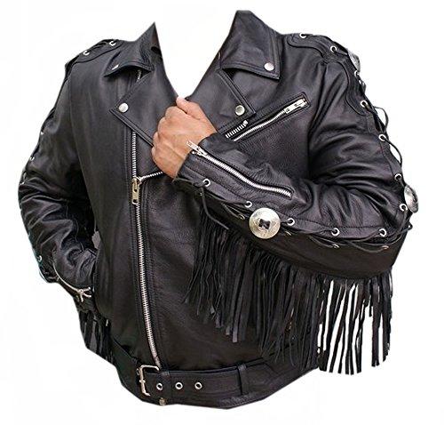 coolhides Mens Black Hawk Leather Jacket (X-Large) - Fringe Motorcycle Jacket