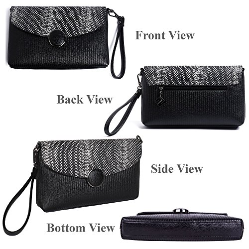 Crocodile Crossbody Leather Crossbody Wallet Crossbody Strap Black Bag Medium Wristlet Women's Strap Fashion Clutch Wallet with BEKILOLE Wrist TC1qw