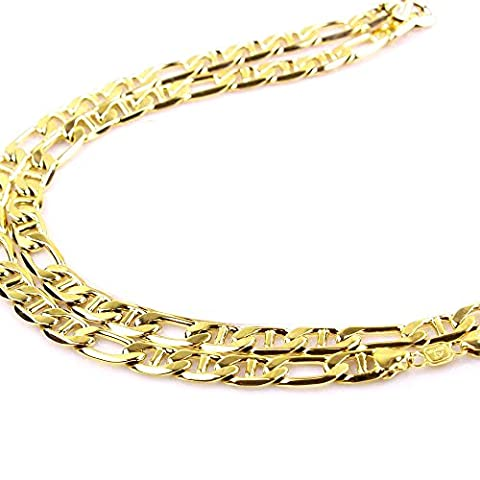 Mens 14k Yellow SOLID Gold Figaro Chain Necklace 4.6 MM 18 - 24 Inches (24) (Used 14k Gold Chain)