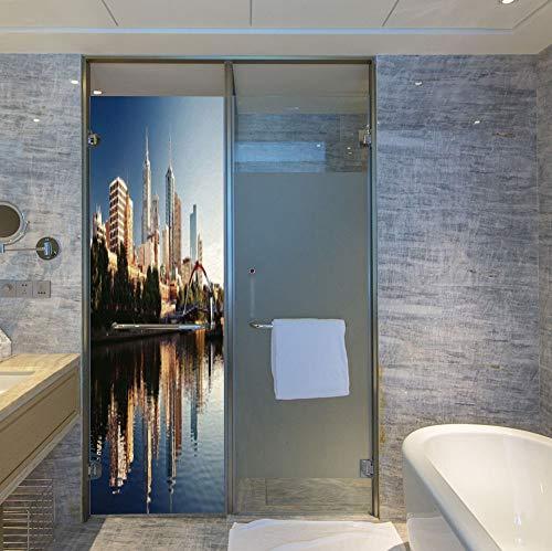 C COABALLA Stained Glass Window Film,City,for Bathroom Shower Door Heat Cotrol Anti UV,Idyllic View of Yarra River Melbourne Australia Architecture,24''x78''