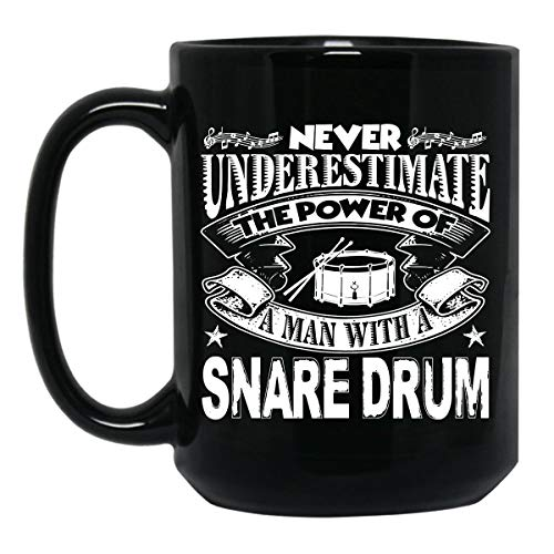 Power Of Man With Snare Drum Mug, Coffee Cup, Black Mug 15 oz