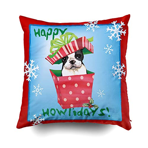 liday Boston Terrier Cushions Case Throw Pillow Cover for Sofa Home Decorative Pillowslip Gift Ideas Household Pillowcase Zippered Pillow Covers 18X18Inch ()