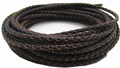 3.0mm Round Folded Bolo PU Braided Leather Cord for Necklace Bracelet Jewelry Making 5M (Navy Blue) ()