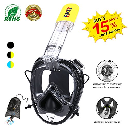 Action One Piece (RKD Snorkel Mask Full Face, Snorkel Set ,Full Face Snorkel Mask, Breath Naturally 180° Panoramic View Mask Anti-fog Anti-leak Compatible With Action Camera Mount For All Adult And Kids Black+Yellow )
