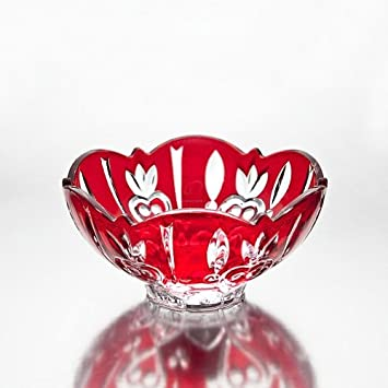 Amazon.com | Crystal Case Large Candy Bowl Color: Red: Christmas ...