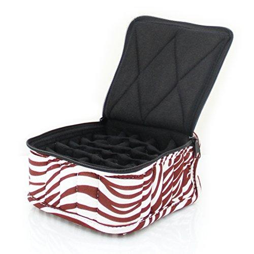 """30-Bottle Essential Oil Designer Carrying Case holds 5ml, 10ml and 15ml bottles - Zebra - Light Brown w/White Stripes w/Black interior - 3"""" high"""